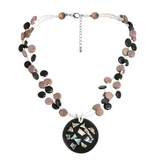 Abalone Collage Medallion Natural Wood Strands Necklace