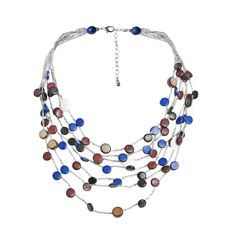 Handmade Coco Palm Wood Circle Cascade Shell Multistrand Necklace (Thailand) - multi-color