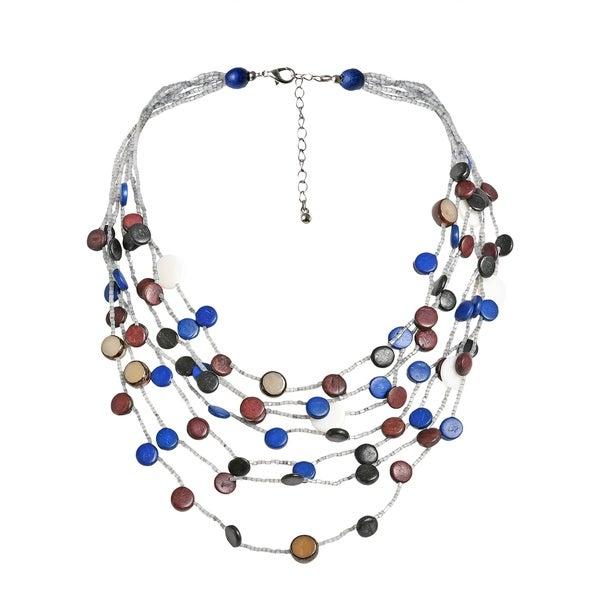 Handmade Coco Palm Wood Circle Cascade Shell Multistrand Necklace