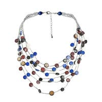 Handmade Coco Palm Wood Circle Cascade Shell Multistrand Necklace - multi-color