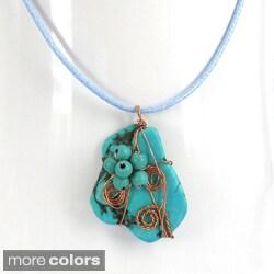 Floral Vine Pendant Turquoise Stone Necklace (Thailand)