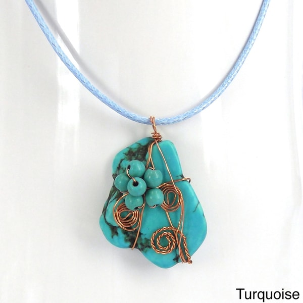 Handmade Floral Vine Pendant Turquoise Stone Necklace (Thailand)