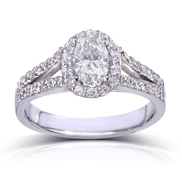 Annello 14k White Gold 1 1/5ct TDW Oval Diamond Engagement Ring (G-H, SI1-SI2)