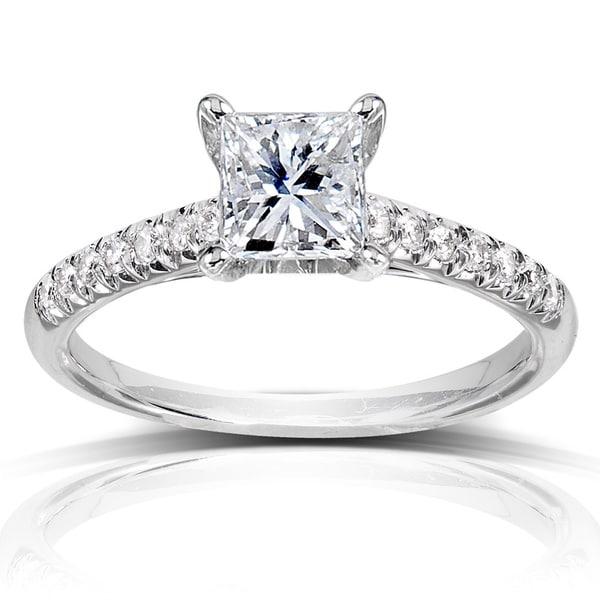 Annello by Kobelli 14k White Gold 1 1/6ct TDW Princess Diamond Engagement Ring