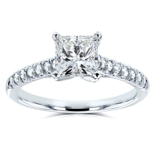 Annello by Kobelli 14k White Gold 1 1/6ct TDW Princess Diamond Engagement Ring