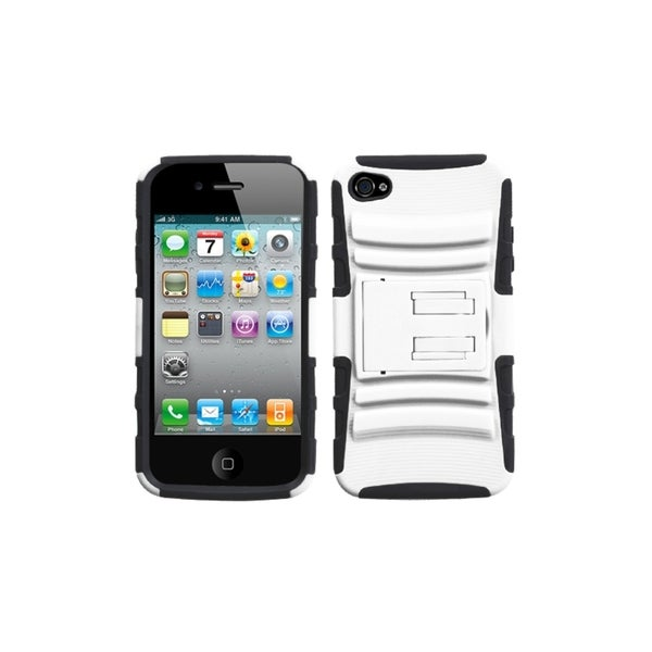 INSTEN White/ Black Armor Phone Case Cover with Stand for Apple iPhone 4/ 4S