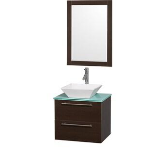 Wyndham Collection 'Amare' 24-inch Espresso/ Green Top/ White Sink Vanity Set