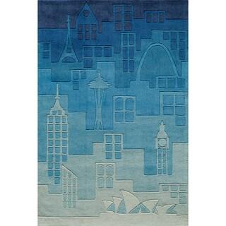 Momeni 'Lil Mo Hipster Jetsetter Blue Rug (4' x 6')