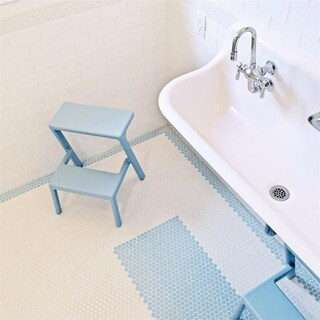 SomerTile 9.75x11.5-inch Victorian Penny Matte Light Blue Porcelain Mosaic Floor and Wall Tile (10 tiles/8 sqft.)