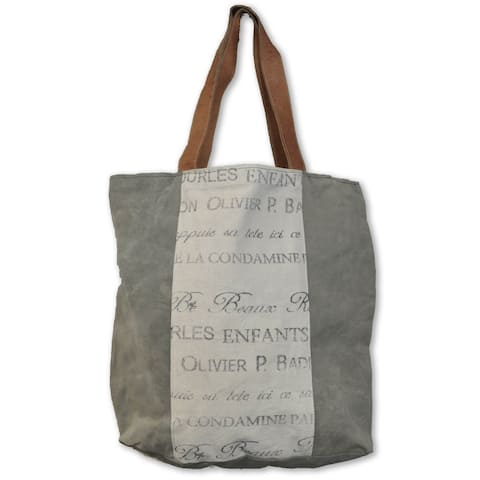 Handmade Cottage Home Recycled Leather/Canvas Helimax Shopper Tote Bag (India)