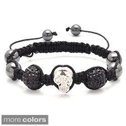 Macrame-inspired Macrame Skull and Rhinestone Bracelet