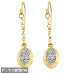 Fremada Sterling Silver Crystal Marquise Drop Earrings