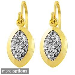 Fremada Sterling Silver Crystal Marquise Hook Earrings