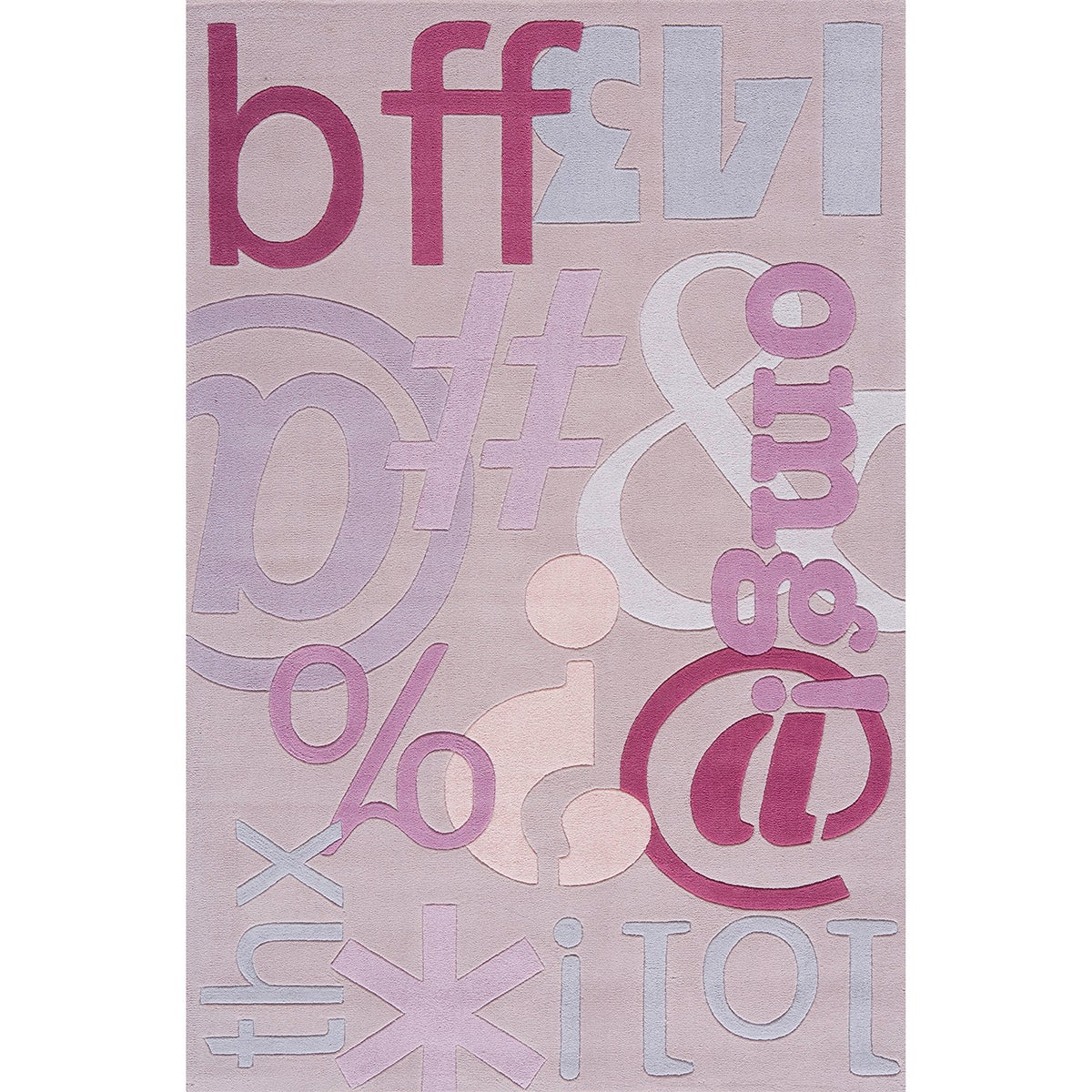 Momeni Lil Mo Hipster Lilac Text Hand-Tufted Rug (5' X 7'...