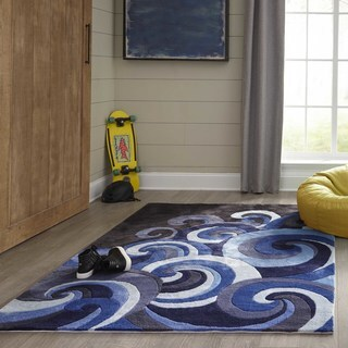 Momeni Lil Mo Hipster Blue Surf's Up Hand-Tufted Rug (5' X 5' Round) - 5'2