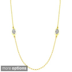 Fremada Sterling Silver Crystal Marquise-shaped Station Necklace