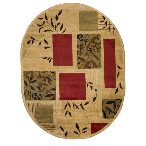 Shop Well Woven Geometric Boxes Leaves Ivory Red Green Area Rug 5