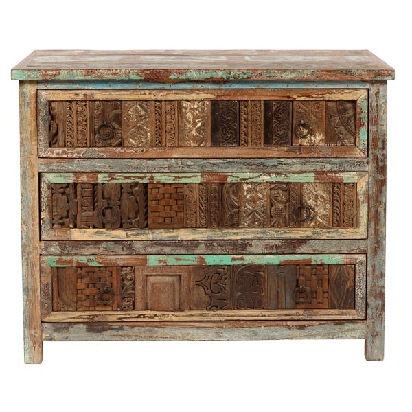 Kosas Home Vintage Bono Print Block 3-drawer Chest