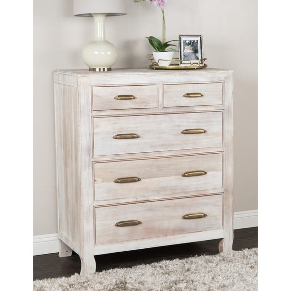 Cosmo Rustic Antique White Wood 5-drawer Dresser by Kosas Home
