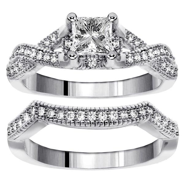 14k White Gold 1 1/5ct TDW Diamond Braided Bridal Ring Set (F-G, SI1-SI2)