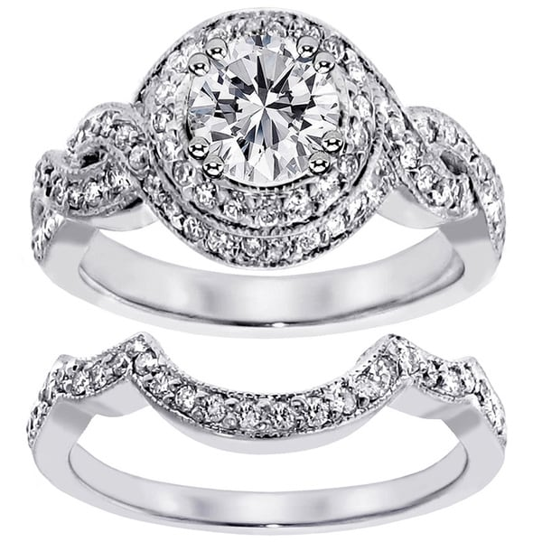 14k White Gold 2ct TDW Clarity Enhanced Diamond Halo Bridal Ring Set