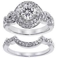 14k White Gold 2ct TDW Clarity Enhanced Diamond Halo Bridal Ring Set