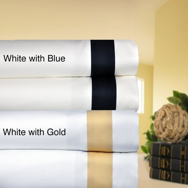 Egyptian Cotton Sateen 520 Thread Count Banded Sheet Set