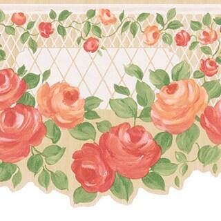 Peach Floral Trellis Border Wallpaper