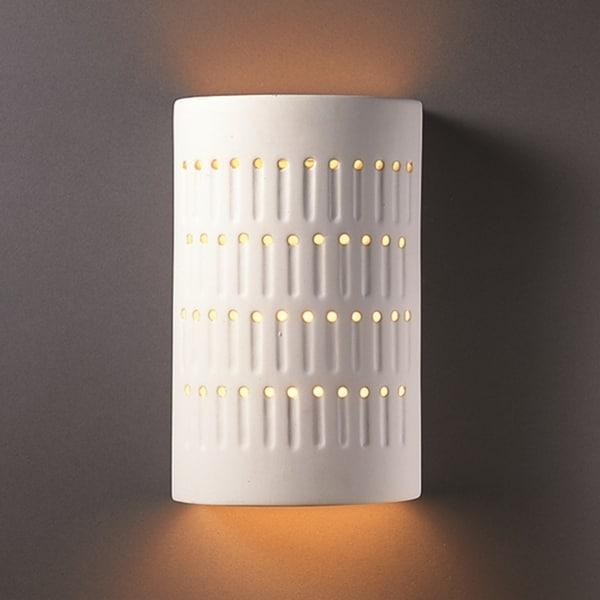 Shop Justice Design Group One Light Cactus Cylinder Bisque Outdoor