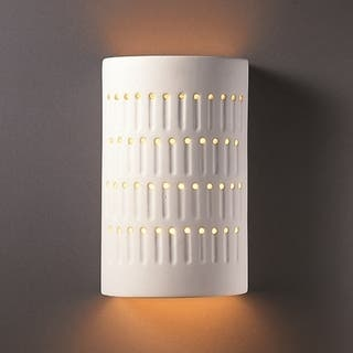 Ceramic outdoor lighting for less overstock justice design group one light cactus cylinder bisque outdoor wall sconce aloadofball Image collections