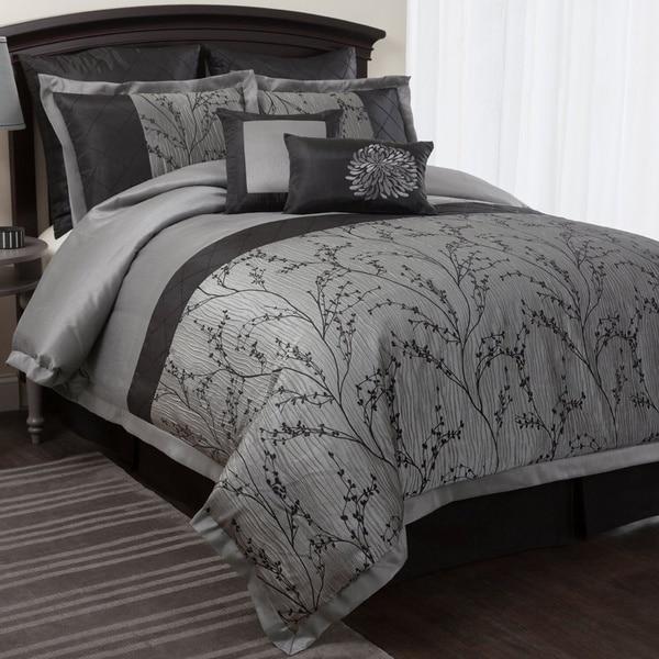 Lush Decor Flower Texture 8-piece Silver Comforter Set
