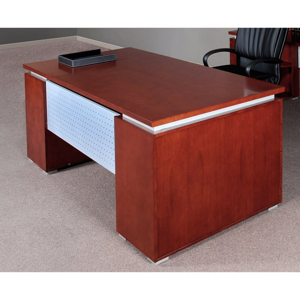 Mayline Eclipse Series 72-inch Bowfront Double Pedestal Desk