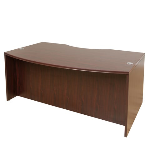 Boss 71-inch Mohogany Finished Light Bow-front Desk Shell