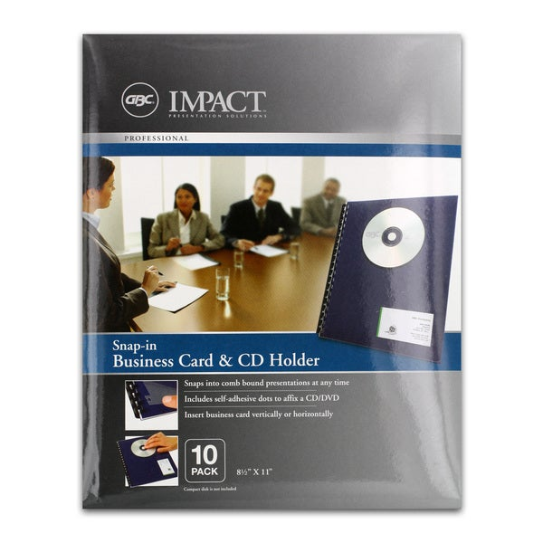 GBC Impact Snap-In Business Card/ CD Holders (Pack of 10)