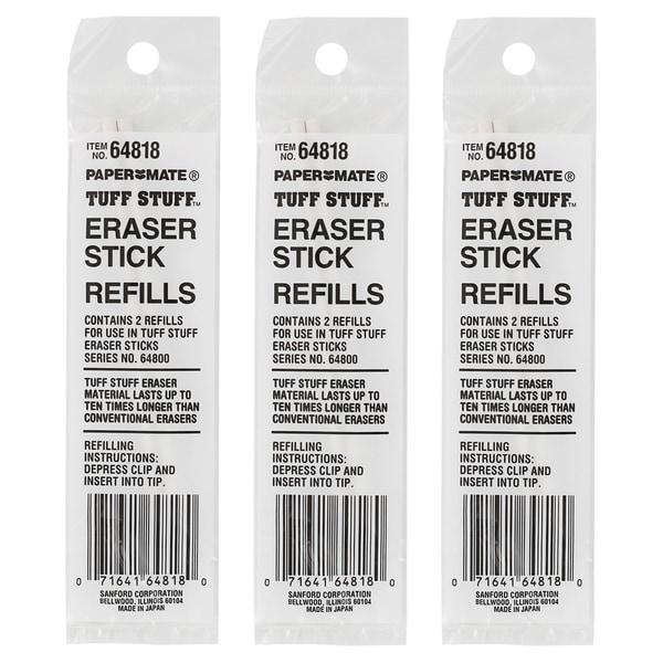 Paper Mate Tuff Stuff White Eraser Stick Refills (Pack of 6)