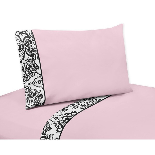 Sweet JoJo Designs 200 Thread Count Pink and Black Sophia Bedding Collection Sheet Set