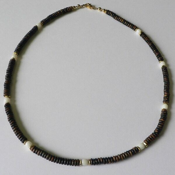 'Phoenix' Bone and Riverstone Men's 20-inch Necklace