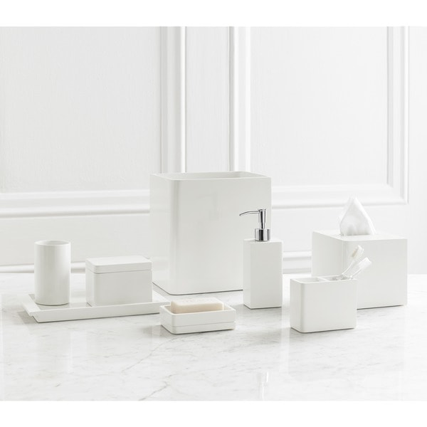 Solid Lacquer White Bath Accessory Collection