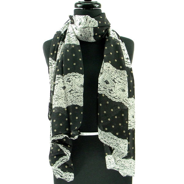 Lace and Polka Dot Print Fashion Scarf