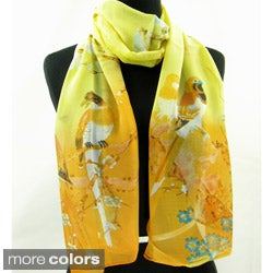 Cherry Blossoms with Birds Fashion Scarf