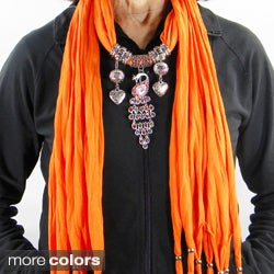 Fashion Jewelry Scarf with Crystal Peacock Pendant