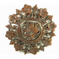 Frangipini Flower Hand Carved Relief Panel