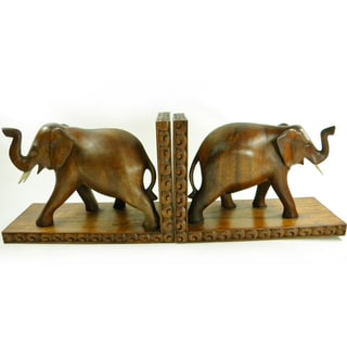 Hand Carved Lucky Elephant Bookends (Set of 2) | Overstock com Shopping -  The Best Deals on Accent Pieces