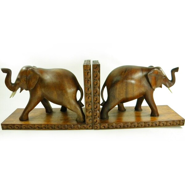Shop Hand Carved Lucky Elephant Bookends (Set of 2) - Free