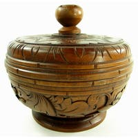 Trinket Bowl With Lid Hand Carved