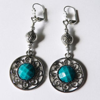 'Selma' Circle Medallion Dangle Earrings