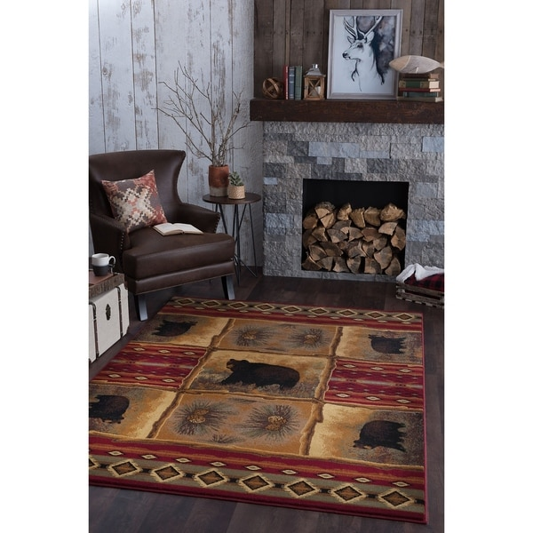 Alise Rugs Natural Lodge Novelty Lodge Area Rug - 7'10 x 10'3