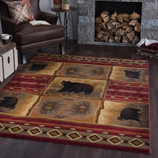 Alise Natural Lodge Red Area Rug (7'10 x 10'3)