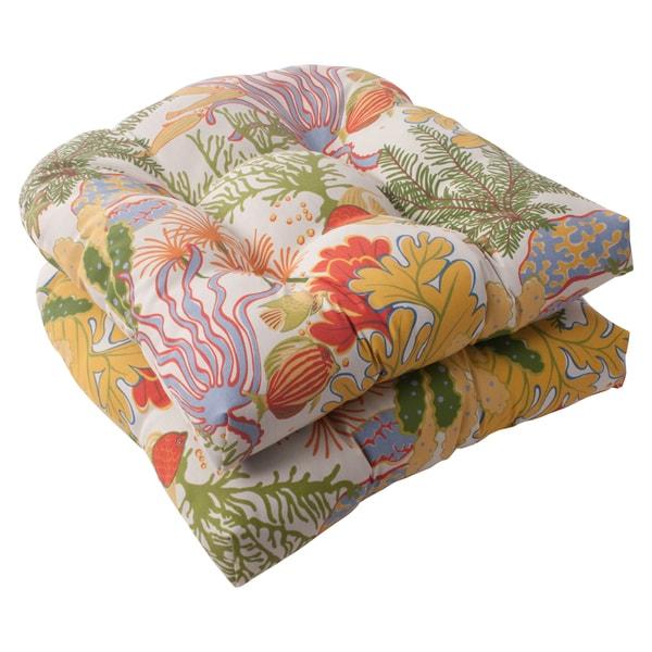 pillow perfect u0027splish splashu0027 outdoor wicker seat cushions set of 2 free shipping today