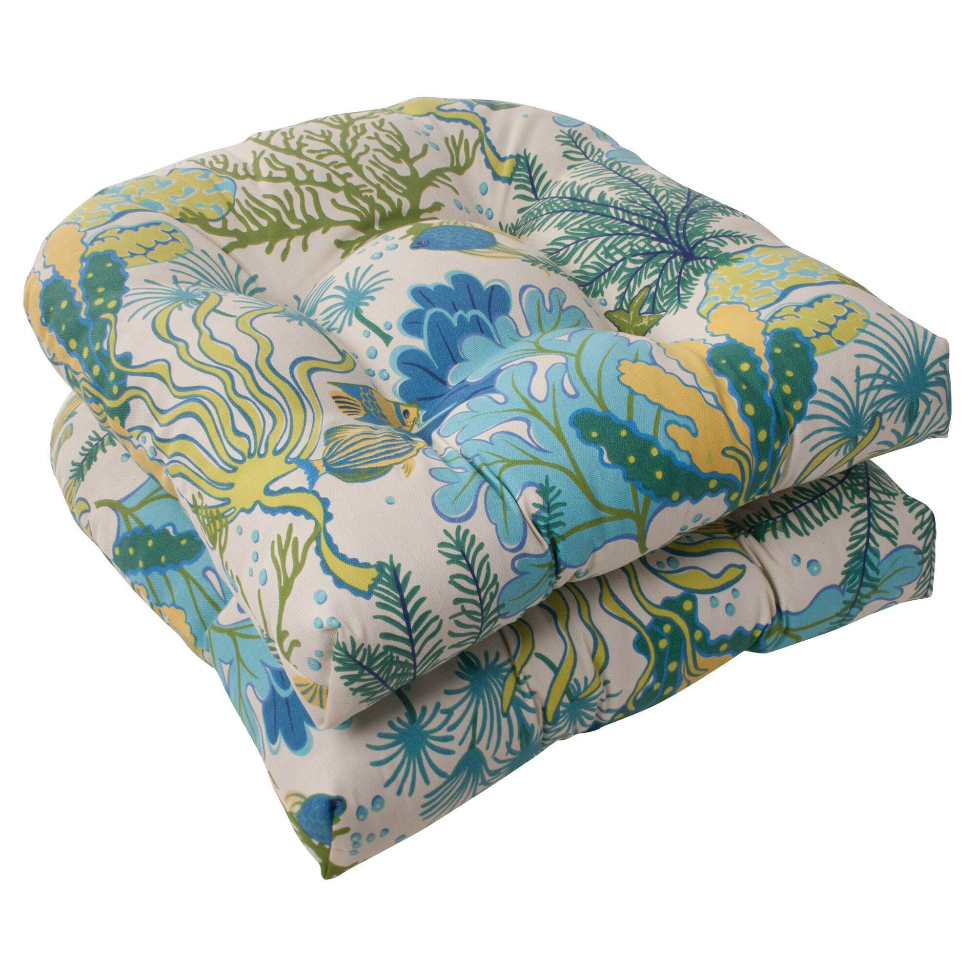 Pillow Perfect Splish Splash Outdoor Wicker Seat Cushions Set